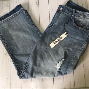 Kensie Cropped Distressed Jeans Sz 14 NWT